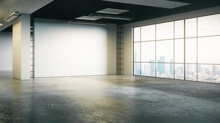 Schoon grunge beton kantoor interieur met lege muur en stadszicht. Mock up, 3D rendering