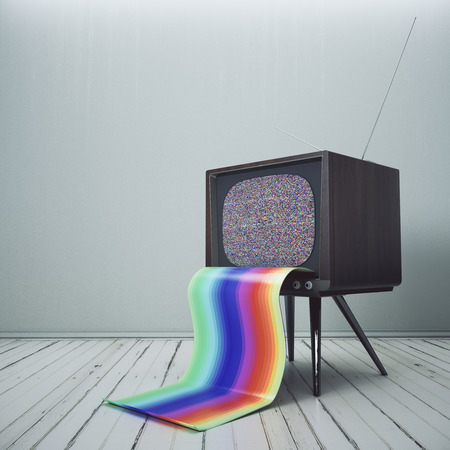 Abstract obsolete TV with rainbow tongue in simple interior. 3D Rendering