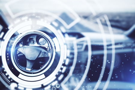 Abstract car interior with digital hologram around wheel. Technology concept. 3D Rendering Stock Photo