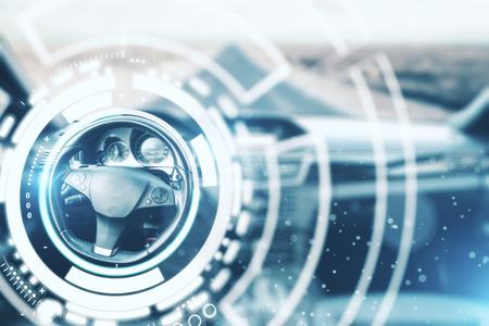 Abstract auto interieur met digitale hologram rond wiel. Innovatieconcept. 3D-rendering