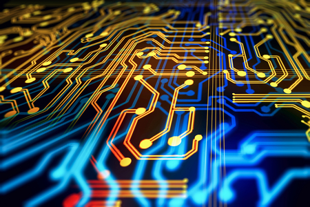 Abstract circuit background. Technology and computer concept. 3D Rendering