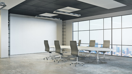 Side view of modern boardroom with empty wall, furniture and city view. Mock up, 3D Rendering