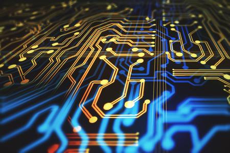 Fond de circuit abstrait. Concept technologique et informatique. Rendu 3D