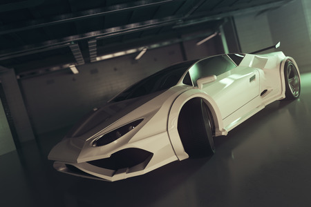Side view of stylish white sportscar inside grunge garage. Race concept. 3D Rendering Stock Photo