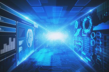 回路と光るデジタル ビジネス ホログラムと創造的なインテリア。技術革新とアナリティクスのコンセプトです。3 D レンダリング