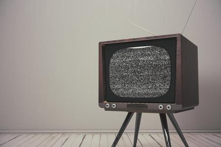 Minimalistisch interieur met leeg vintage tv-scherm. Advertentie, commercieel concept. Mock up, 3D rendering