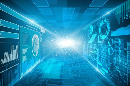 Creatief interieur met circuit en gloeiend digitaal business hologram. Innovatie en toekomstconcept. 3D-rendering