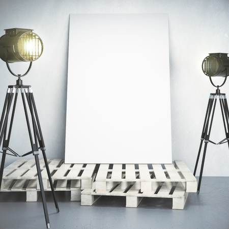 Empty banner in concrete interior with professional lighting equipment and wooden pedestal. Gallery, exhibition, museum concept. Mock up, 3D Rendering