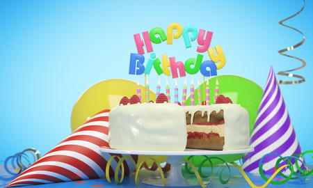 Delicious birthday cake with candles, hats and balloons on blue background. Celebration concept. 3D Rendering Stock Photo
