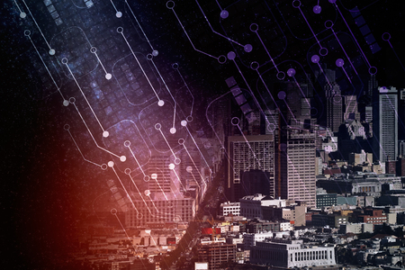 Abstract circuit board and city background. Technology and innovation concept. Double exposure Stock Photo