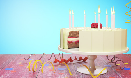 Delicious birthday cake with candles on blue background. Celebration concept. 3D Rendering