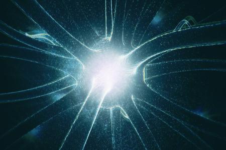Abstracte gloeiende neuron op ruimtebehang. Geneeskunde concept. 3D-weergave