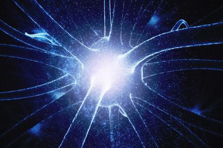 Abstraktes glühendes Neuron auf Raumbeschaffenheit, Medizinkonzept. 3D-Rendering Standard-Bild - 87331472