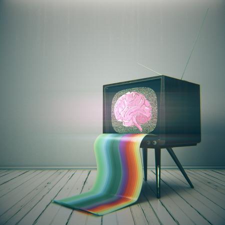 두뇌 스케치와 추상 빈티지 TV 화면에 최소한의 인테리어에 배치합니다. 브레인 스토밍, 마인드 컨트롤 개념. 3D 렌더링