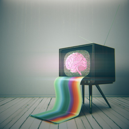 Abstract vintage TV with brain sketch on screen placed in minimalistic interior. Brainstorm, mind control concept. 3D Rendering