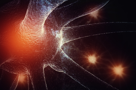 Abstract glowing neuron on space background. Medicine and science concept. 3D Rendering