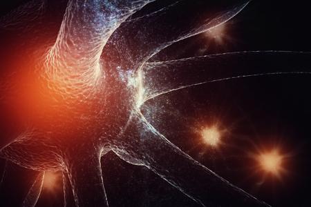 Abstracte gloeiende neuron op ruimteachtergrond. Geneeskunde en wetenschap concept. 3D-weergave