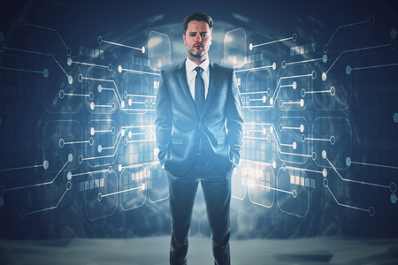 Handsome confident young eurpean businessman standing in abstract interior with glowing circuit board. Technology concept. 3D Rendering