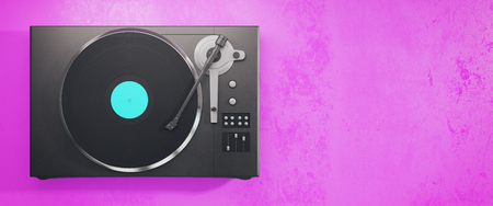Turntable vinyl record player. Retro audio equipment for disc jockey. Sound technology for DJ to mix & play music. Pink background with copy space. 3D Rendering Stock Photo