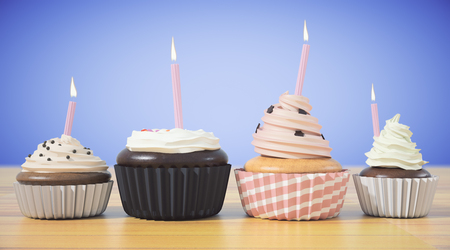 Assortment of cupcakes with candles on blue background. Celebration, birthday, cake concept. 3D Rendering