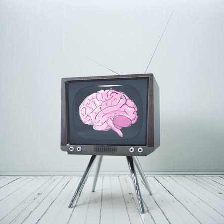 Abstract obsolete TV with brain sketch on screen placed in minimalistic interior. Brainstorm, mind control concept. 3D Rendering Stok Fotoğraf