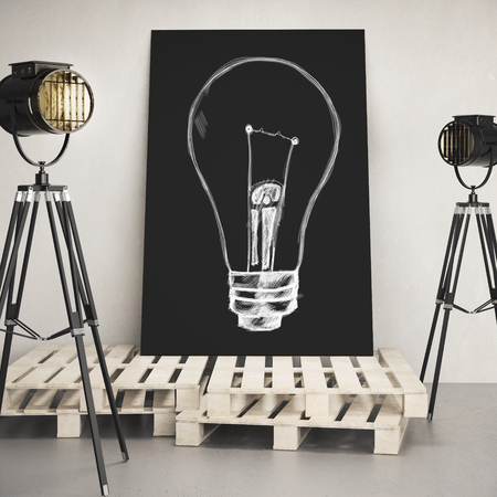 Banner with lamp sketch in concrete interior with professional lighting equipment and wooden pedestal. Idea and innovation concept. Mock up, 3D Rendering