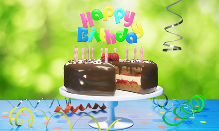 ぼやけた背景にキャンドルとおいしい誕生日ケーキ。セレブレーションコンセプト。3D レンダリング 写真素材