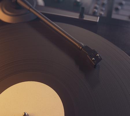 Draaischijf vinyl platenspeler. Retro audio-apparatuur voor disc jockey. Geluidstechnologie waarmee DJ muziek kan mixen en afspelen. Close-up en bovenaanzicht. 3D-weergave Stockfoto