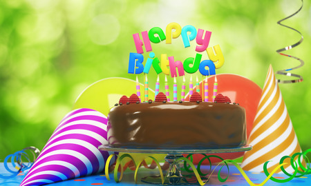 Delicious birthday cake with candles, hats and balloons on blurry background. Party concept. 3D Rendering Imagens