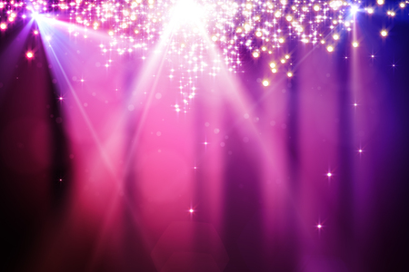 Abstract sparkling pink backdrop with blurry bokeh dots and spotlight. Celebration, holiday, destive concept Stok Fotoğraf