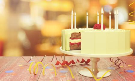 美味しいバースデー ケーキをぼやけて背景にろうそく。お祝いのコンセプトです。3 D レンダリング
