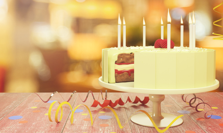 Delicious birthday cake with candles on blurry background. Celebration concept. 3D Rendering