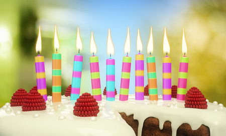 Close up of delicious birthday cake with candles on blurry background. Celebration concept. 3D Rendering