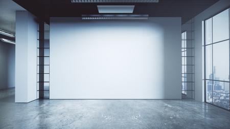 Konkreter Büroinnenraum des zeitgenössischen Schmutzes mit leerer Wand- und Stadtansicht. Mock up, 3D-Rendering