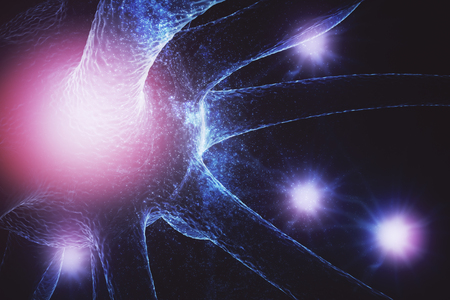 Abstract glowing neuron on space backdrop. Medicine and science concept. 3D Rendering