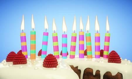 Close up of delicious birthday cake with candles on blue background. Celebration concept. 3D Rendering