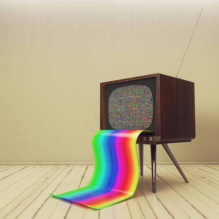 Abstract retro TV with rainbow tongue in simple interior. 3D Rendering Stock Photo