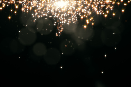 Abstract sparkling golden background with blurry bokeh dots and spotlight. Celebration, holiday, destive concept