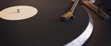 Draaischijf vinyl platenspeler. Retro audio-apparatuur voor disc jockey. Technologie voor DJ om muziek te mixen en te spelen. Detailopname. 3D-weergave Stockfoto
