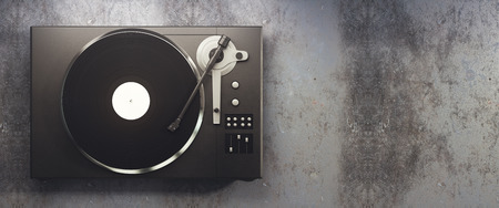 Turntable vinyl record player. Retro audio equipment for disc jockey. Sound technology for DJ to mix & play music. Concrete background with copy space. 3D Rendering Stock Photo