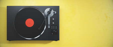 Turntable vinyl record player. Retro audio equipment for disc jockey. Sound technology for DJ to mix & play music. Yellow background with copy space. 3D Rendering Stock Photo