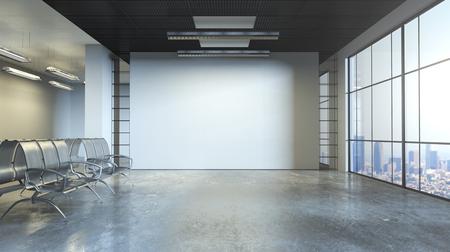 Betoninnenraum des modernen Schmutzes mit Sitzen, leerer Wand und Stadtansicht. Mock-up, 3D-Rendering Standard-Bild - 87331531
