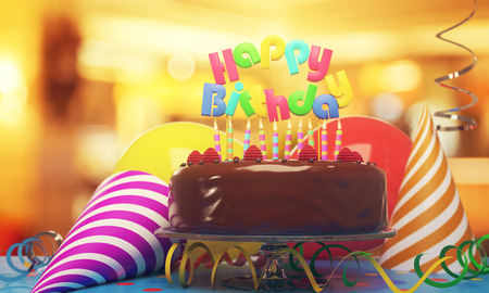 Delicious birthday cake with candles, hats and balloons on blurry background. Icing concept. 3D Rendering
