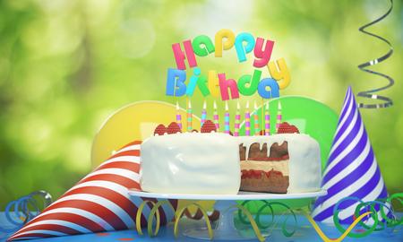 キャンドル、帽子、ぼやけて背景に風船と美味しいバースデー ケーキ。お祝いのコンセプトです。3 D レンダリング 写真素材