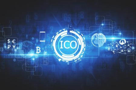Abstracte gloeiende digitale valutaknoop Het eerste het muntstuk van ICO aanbieden op virtuele digitale elektronische gebruikersinterface. Investeringsconcept. 3D-weergave