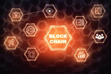 Abstract blokkettinghologram op onscherpe patroonachtergrond. Bitcoin-concept. 3D-weergave Stockfoto