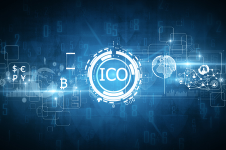 Abstract glowing digital currency button ICO initial coin offering on virtual digital electronic user interface. Technology concept. 3D Rendering Foto de archivo