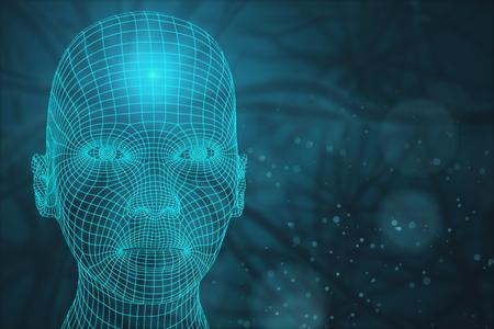 흐린 배경에 추상 메쉬 머리의 전면 뷰. 사이보그 개념입니다. 3D 렌더링 스톡 콘텐츠