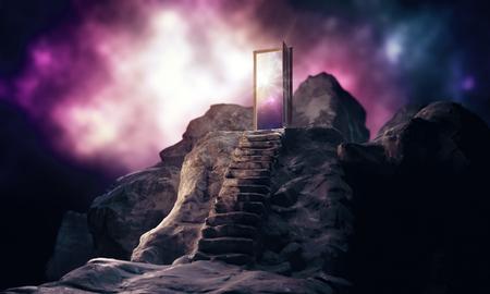 Bergstappen die tot abstracte open deur met mening over hemelachtergrond leiden. Inspiratie concept. 3D-weergave Stockfoto