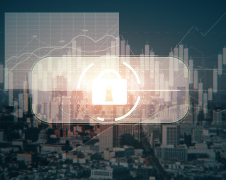 Abstract digital padlock button on city background. System concept. Double exposure